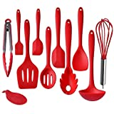 IMLUCKY Kitchen Utensils, Silicone Heat-Resistant Non-Stick Kitchen Utensil Set Cooking Tools 10+1 Piece,Turner, Whisk, Spoon,Brush,spatula, Ladle Slotted turner, Tongs, Pasta Fork and Spoon Rest