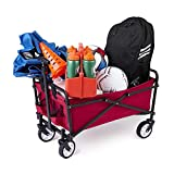 Seina Steel Compact Collapsible Folding Outdoor Portable Utility Cart in Red