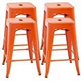 FDW Counter Height Bar Stools Set of 4 Metal Bar Stools Industrial Metal Stool Patio Furniture 24 Inches Kitchen Counter Stool Indoor/Outdoor Stool Moden Stackable Barstools Restaurant Dining Chairs