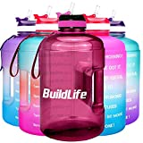 BuildLife Gallon Motivational Water Bottle with Time Marked to Drink More Daily - BPA Free Reusable Gym Sports Outdoor Large 128oz Capacity(Bright Purple, 1 Gallon)