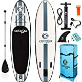 rolimate Inflatable Stand Up Paddle Board, with All SUP Accessories 6 Inches Thickness Wide Stance Bottom Fin for Paddling (Black)