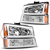 AUTOSAVER88 Headlight Assembly Compatible with 03 04 05 06 Chevy Avalanche Silverado 1500 2500 3500/07 Chevrolet Silverado Classic Pickup Headlamp Chrome Housing with Turn Signal Lamp