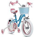 RoyalBaby Girls Bike Stargirl 14 Inch Girl's Bicycle With Training Wheels Basket Child's Girl's Bike Blue