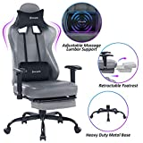 VON RACER Massage Gaming Chair - High Back Racing PC Computer Desk Office Chair Swivel Ergonomic Executive Leather Chair with Footrest and Adjustable Armrests, Light Black