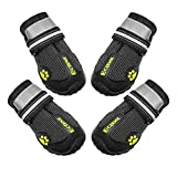 ECtENX Waterproof Dog Shoes Nonslip Paw Protector Hiking Running Dog Boots with Reflective and Adjustable Straps Black 4PCS (Size 5# 2.3'x2.8')