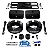 Supreme Suspensions - Full Lift Kit for 2005-2020 Toyota Tacoma 3' Front Lift Strut Spacers + 2' Rear Lift Tapered Blocks + Square Bend U-Bolts + Diff Drop Kit 4WD (Black)