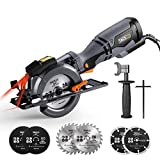 """TACKLIFE Circular Saw with Metal Handle, 6 Blades (4-3/4' & 4-1/2""""), Laser, 5.8A, Cutting Depth 1-11/16'' (90°), 1-3/8'' (45°), Corded Circular Saw for Wood, Soft Metal, Tile, Plastic Cuts - TCS115A"""