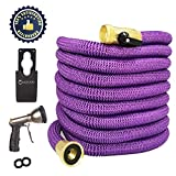 Upgraded 2020- Purple Expandable Hose -Collapsible Hose- Flexible Hose -Light Weight Garden Hose 50FT-Heavy Duty Retractable Hose Commercial Purple Hose Comes with Metallic Gun and Bonus washers