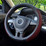 BOKIN Steering Wheel Cover, Microfiber Leather and Viscose, Breathable, Warm in Winter and Cool in Summer, Universal 14.5 Inches (New Red)