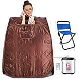 Hurbo Newest Portable Folding steam Sauna Room, Home Sauna spa, Weight Loss Therapy, Full Body Spa Detox Sauna Room with Foldable Chair Timer Remote Control (31.5 x 31.5 x 40.6inch, Coffee)