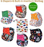 Pocket Cloth Diapers All in One Design Adjustable Size 6 Pack and 6 Built-in Inserts and 1 Wet Bag