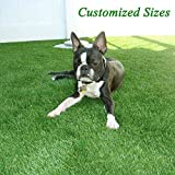 GL Premium 35mm Pile Height Artificial Grass, Realistic and Thick Fake Faux Grass Mat, Outdoor Garden Dogs Pet Synthetic Grass, Carpet Doormat Rubber Backed with Drainage Holes 4 FT x6 FT/24 Square FT