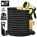 TOCZIM 100ft New Expandable Garden Hose - Superior Strength 3750D, 4-Layers Latex with 3/4' Solid Brass Connectors, 9 Function Spray Nozzle, Easy Storage Kink Free Flexible Lightweight Water Hose