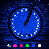 TINANA 2 Tire Pack LED Bike Wheel Lights Ultra Bright Waterproof Bicycle Spoke Lights Cycling Decoration Safety Warning Tire Strip Light for Kids Adults Night Riding (Blue 2pack)