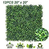 Sunnyglade 12 Pieces 20'x 20' Artificial Boxwood Panels Topiary Hedge Plant, Privacy Hedge Screen UV Protected Suitable for Outdoor, Indoor, Garden, Fence, Backyard and Decor (12PCS)