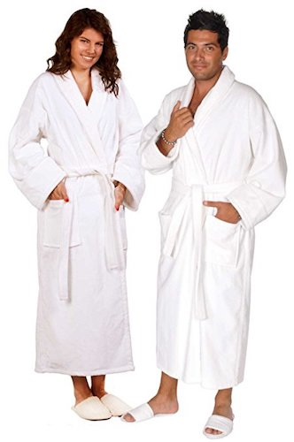4. Soft Touch Linen 100% Turkish Cotton Terry Velour Bathrobe