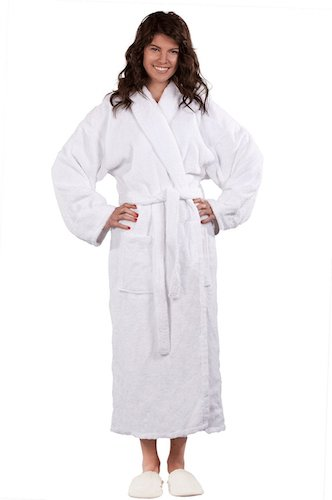 2. Soft Touch Linen 100% Pure Turkish Cotton, Shawl Collar Terry Unisex Bathrobe.