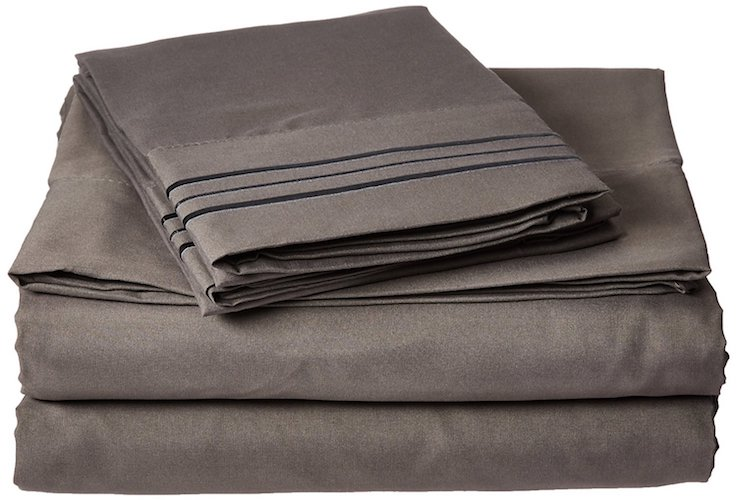 10. Elegant Comfort 1500 Thread Count Egyptian Quality Ultra Soft 4-Piece Bed Sheet Set, Queen, Gray