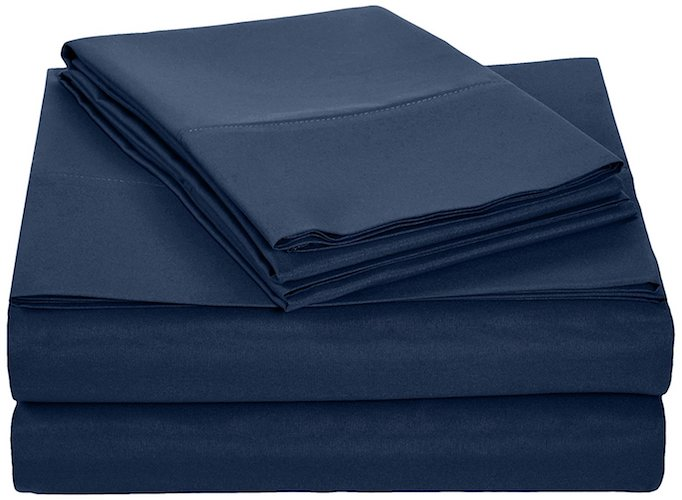 4. AmazonBasics Microfiber Sheet Set - Queen, Navy Blue