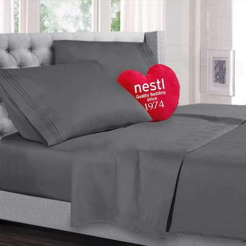 2. Queen Size Bed Sheets Set, Charcoal Grey