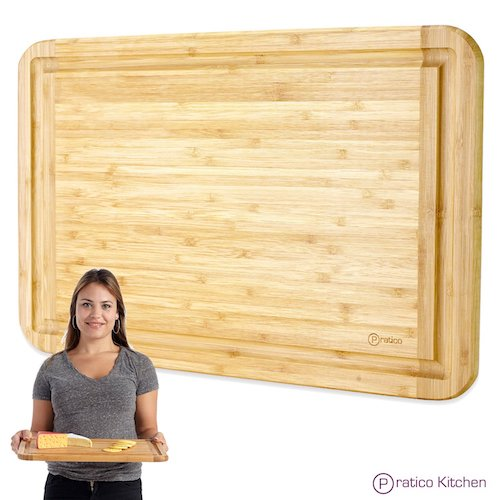 10. Bamboo Cutting Board and Serving Tray with Juice Groove