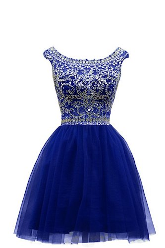1. BRL MALL Women's Beaded Tulle Scoop Neckline A-Line Mini Party Dresses