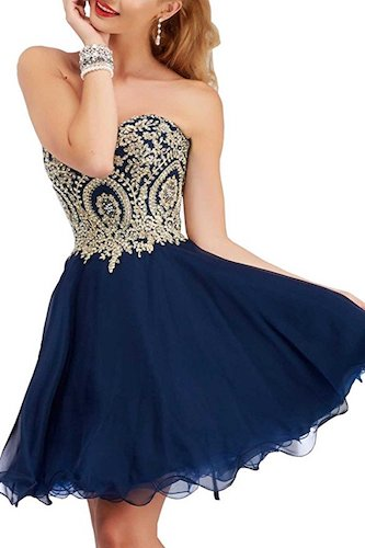 2. Manfei Short Prom Dress Bridesmaid Party Gowns Gold Appliques