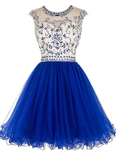 4. Tideclothes Short Beading Prom Dress Tulle Evening Dress Hollow Back