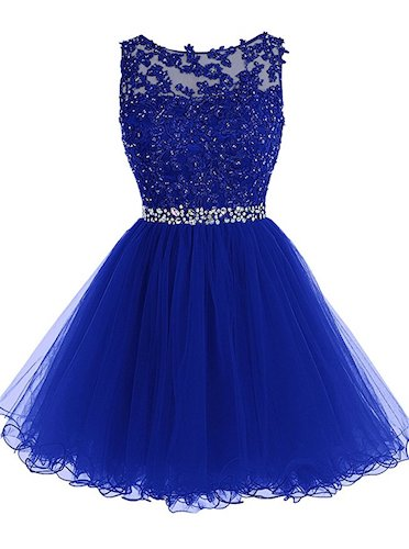 5. Tideclothes Short Beaded Prom Dress Tulle Applique Evening Dress