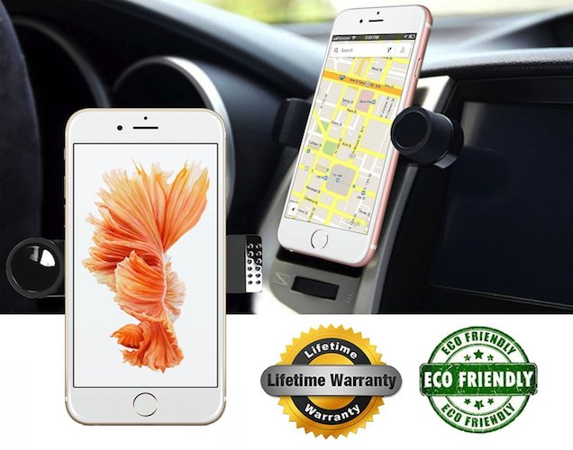 Best Car Mount Smart Phone: 5. Luxury Car Phone Mount Fits All Vents, 360 degree Rotation Works With iPhone 7, 7 Plus, 6, S, SE[