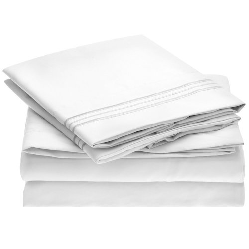 8. Ideal Linens Bed Sheet Set, 1800 Double Brushed Microfiber, Queen, White