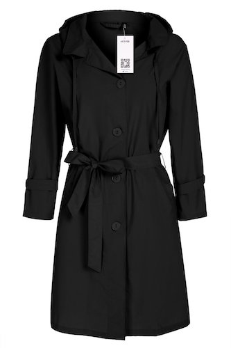 Best Trench Rain Coat: 6. Women Raincoat Packable Front Button Rain Coat Hooded Rain Jacket