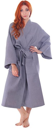 9. Simplicity Men/Women's 100% Cotton Lightweight Waffle Weave Spa Robe