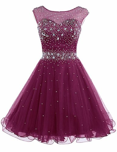 7. Sarahbridal Women's Short Tulle Beading Homecoming Dress Prom Gown AJ032