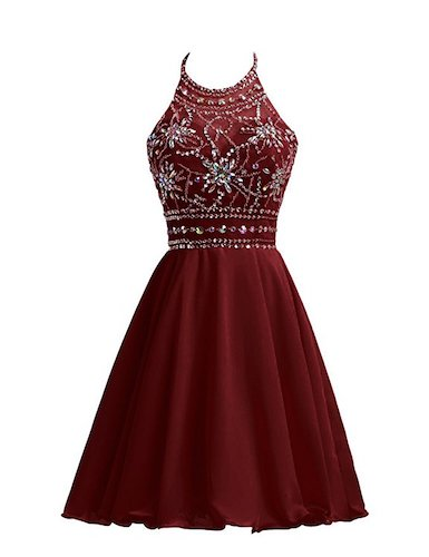 6. Belle House Short Chiffon Homecoming Dresses For Juniors Halter Prom Party Gowns