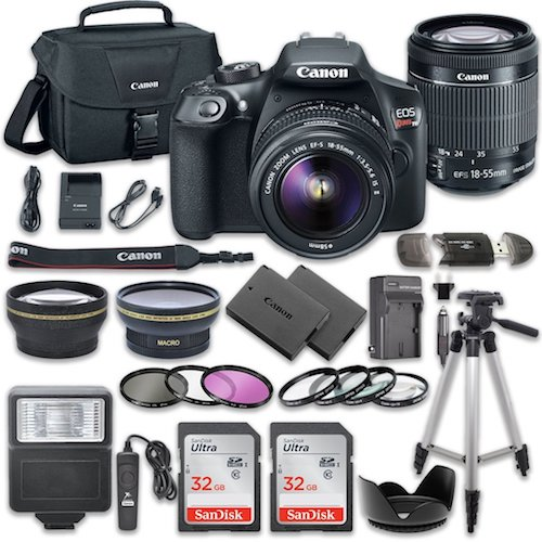 Best DSLR Camera under 500: 4. Canon EOS Rebel T6 DSLR Camera Bundle with Canon