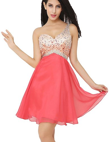 9. Belle House Women's Short Tulle Beading Homecoming Dress Prom Gown HAJ032