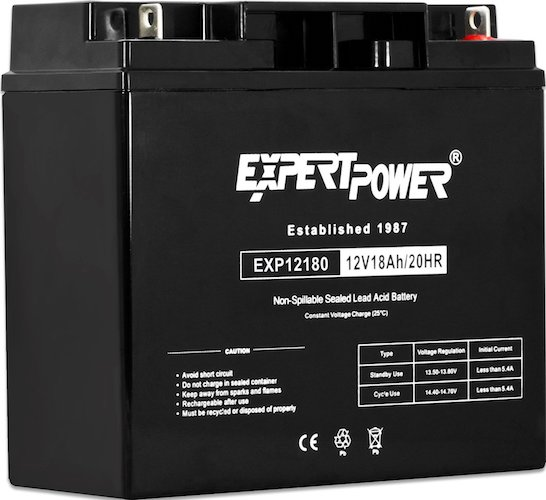 5. ExpertPower EXP12180 12 Volt 18 Ah Rechargeable Battery with Nuts and Bolts