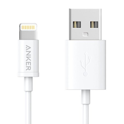 9. Anker Premium Lightning to USB Cable (3ft) for iPhone (White)