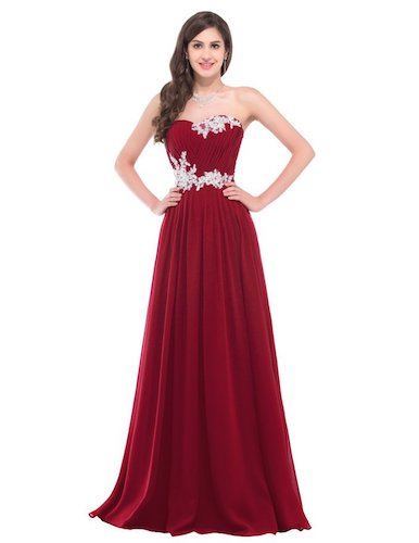 GRACE KARIN Strapless Long Evening Dress with Appliques
