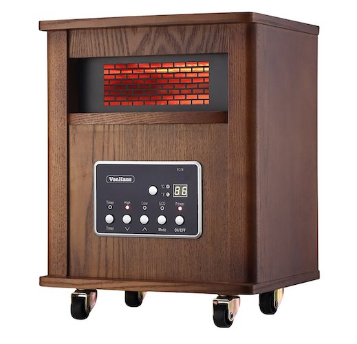 10. VonHaus Wood Electric 4 Element Infrared Fan Heater