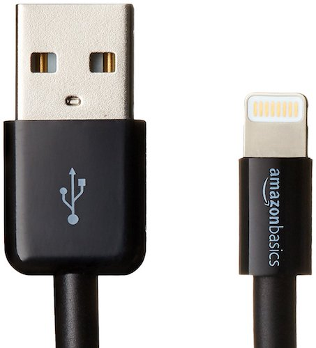 7. AmazonBasics Apple Certified Lightning to USB Cable - 3 Feet (0.9 Meters) - Black