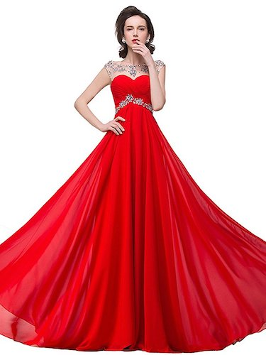 Babyonline Sexy Backless Beaded Chiffon Long Evening Gown