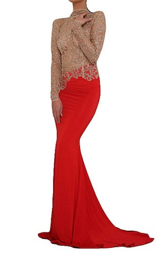 Missord Women's O Neck Long Sleeve Bodycon Maxi Dress