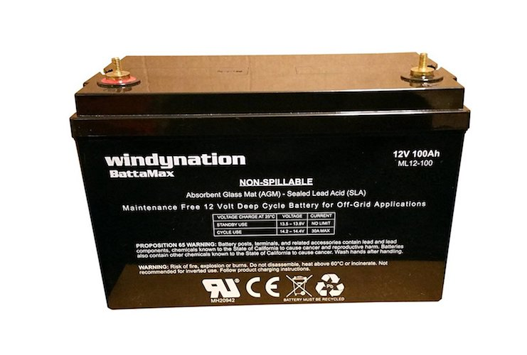 7. WindyNation 12V 100 Amp-Hour (240 Minute Reserve Capacity) AGM SLA Deep Cycle VRLA Battery RV