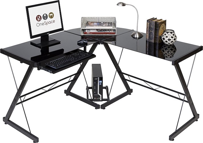 Best Home Office Desks: 8. OneSpace 50-JN110505 Ultramodern Glass L-Shape Desk