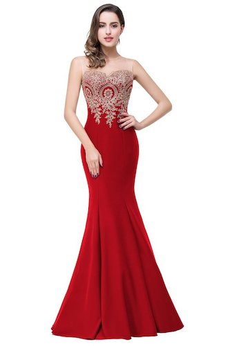 Top 10 Best Red Prom Dresses: Babyonlinedress Mermaid Evening Dress