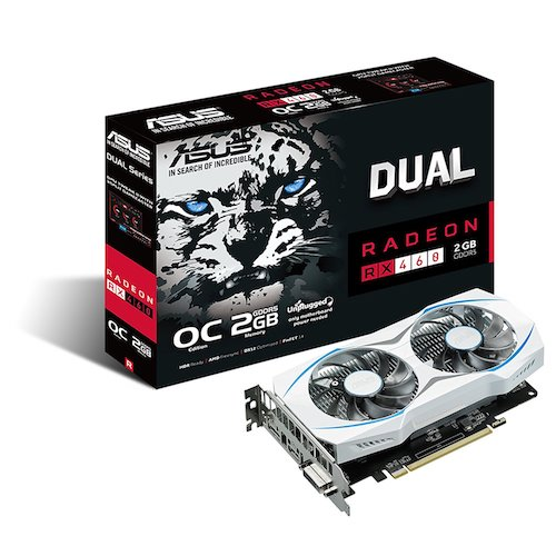 10. ASUS Dual-Fan Radeon Rx 460 2GB OC Edition AMD Gaming Graphics Card (DUAL-RX460-O2G)