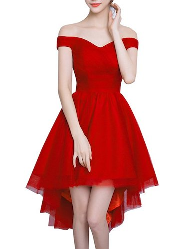 Top 10 Best Red Prom Dresses: Bess Bridal Women's High Low Off Shoulder Lace Up Dress
