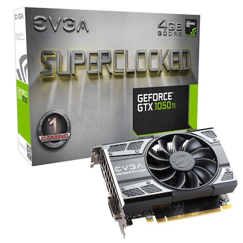 1. EVGA GeForce GTX 1050 Ti SC GAMING, 4GB GDDR5, DX12 OSD Support (PXOC) (04G-P4-6253-KR)